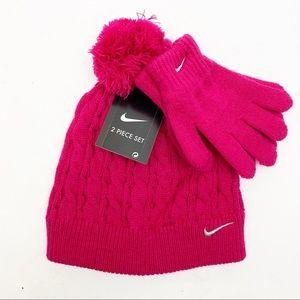 Nike Girls Winter Accessories Set Pom Hat & Gloves